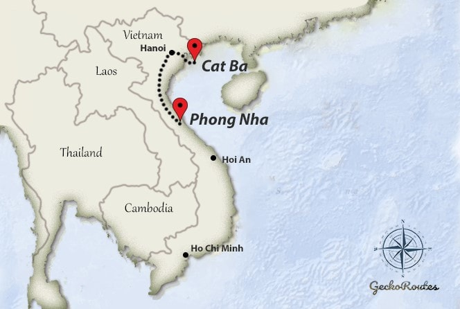 CatBa to Phong Nha travelroute
