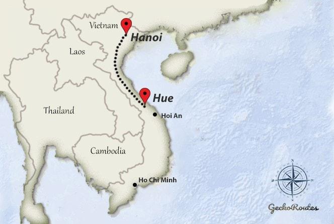 Hanoi to Hue travelroute
