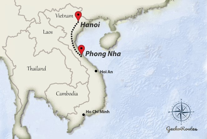 Hanoi to Phong Nha travelroute