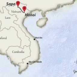 Hanoi to Sapai travelroute