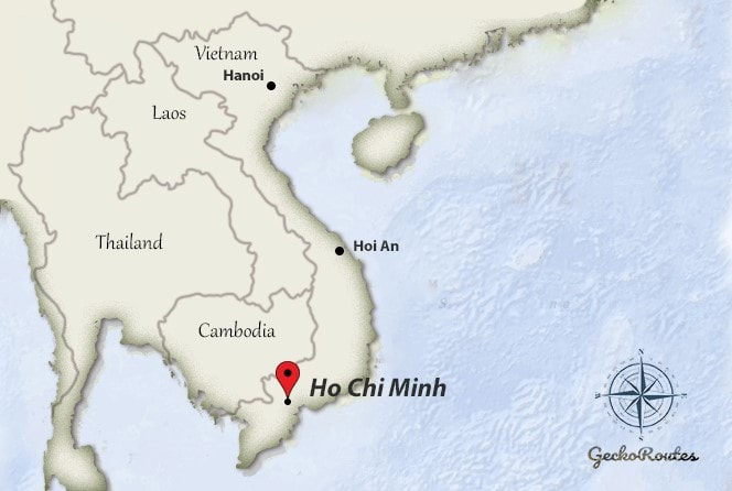Ho Chi Minh on map Vietnam