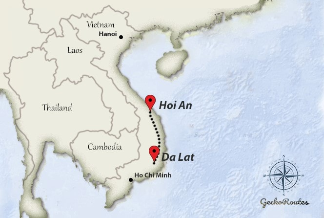 DaLat to Hoi An travelroute