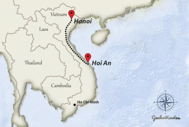 Hanoi to Hoi An travelroute