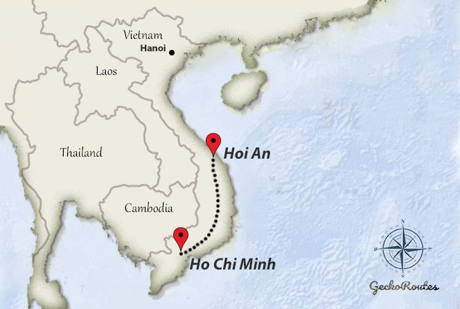Hoi An to Ho Chi Minh travelroute