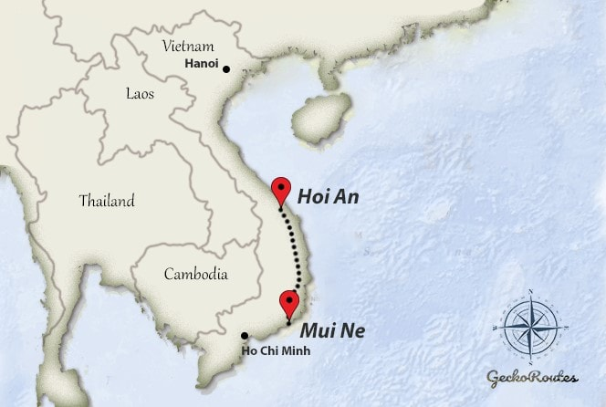 Mui Ne to Hoi An travelroute