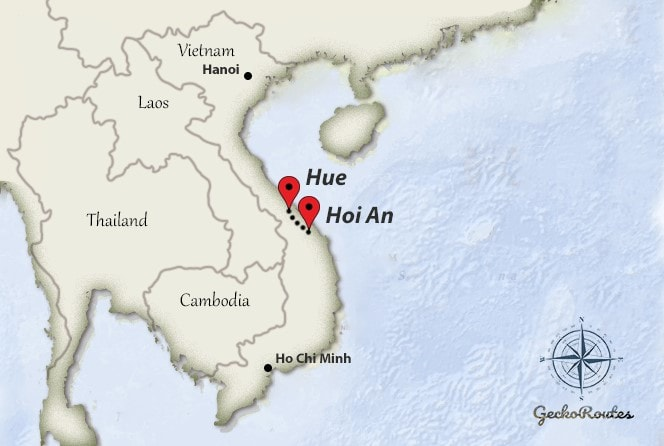 Hoi An to Hue travelroute