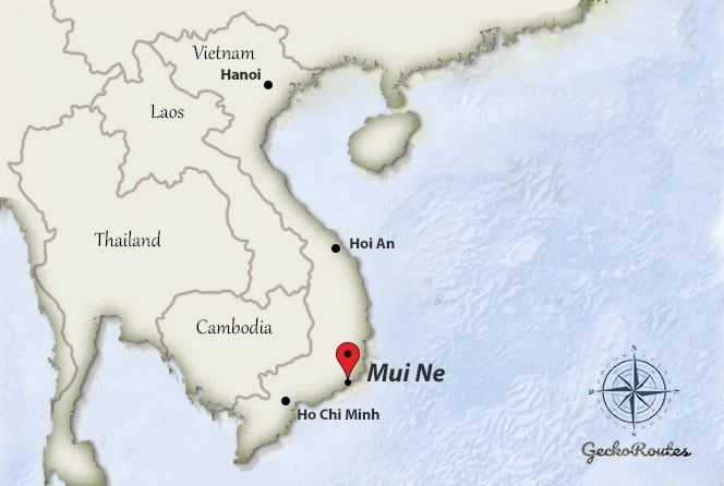 Mui Ne on map Vietnam