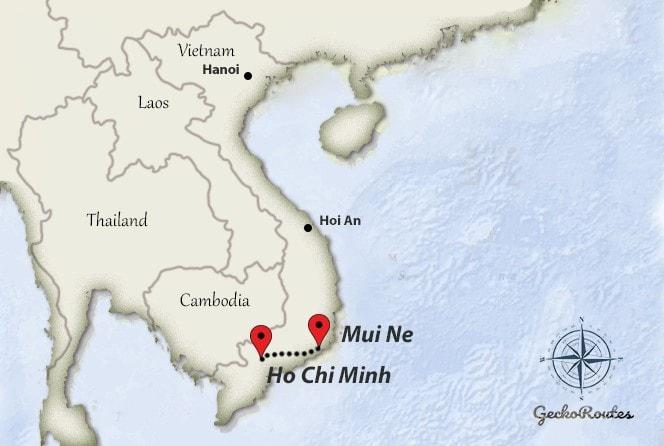 Ho Chi Minh to Mui Ne travelroute
