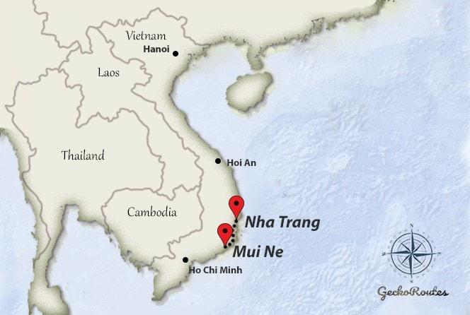 Mui Ne to Nha Trang travelroute