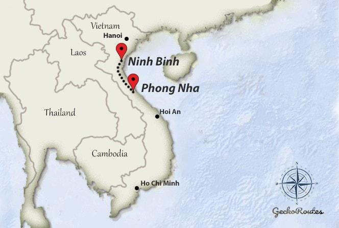 Phong Nha to Ninh Binh travelroute