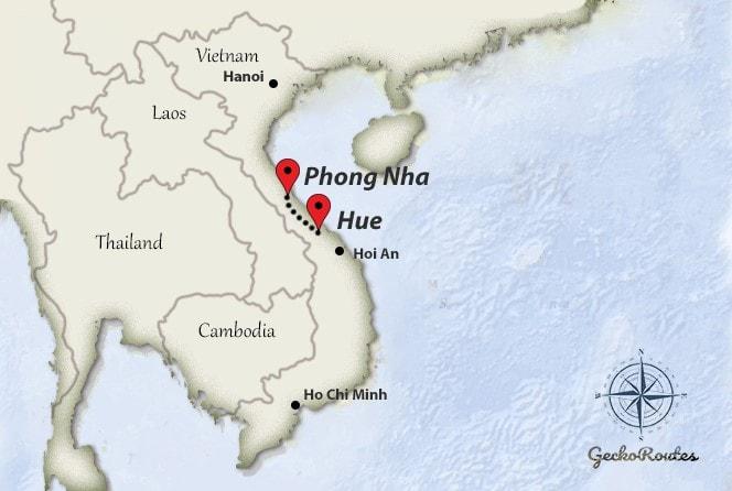 Hue to Phong Nha travelroute