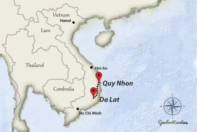 DaLat to Quy Nhon travelroute