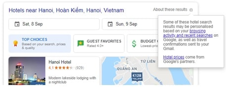 Google hotel personalization