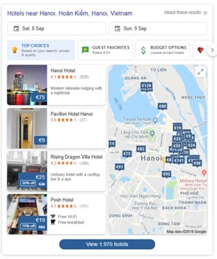 Google Hotel Search engine new interface