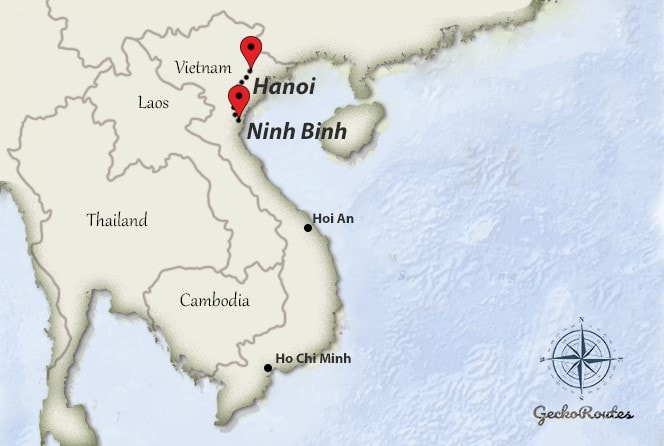 Map of Hanoi to Ninh Binh