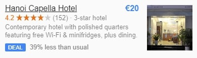 Google hotel meta search: hotel deal