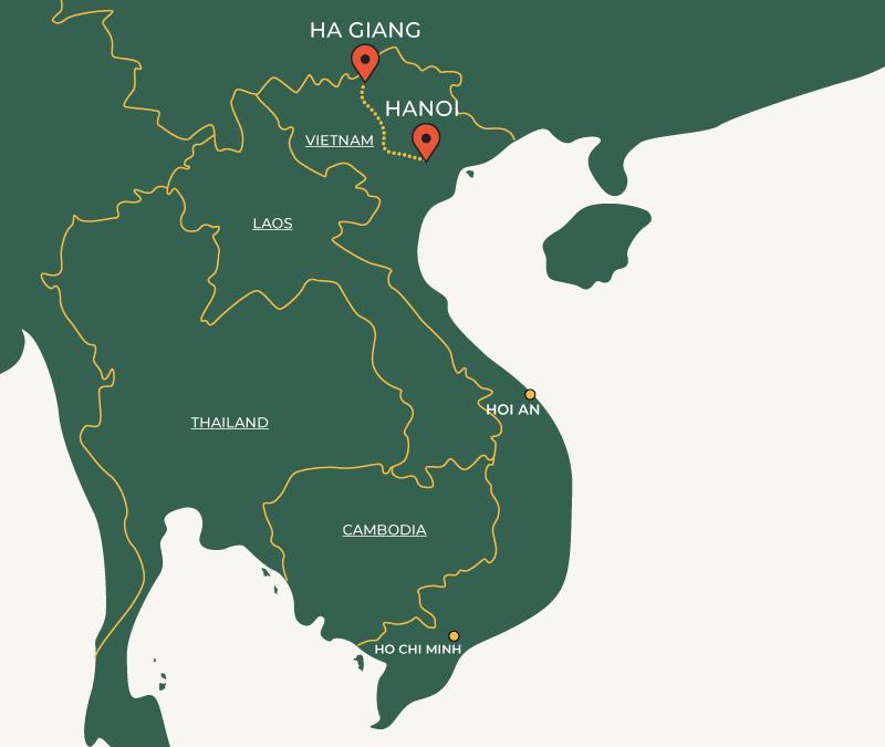 Ha Giang to Hanoi travelroute