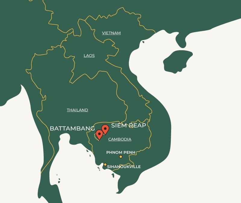 Siem Reap to Battambang travel route on map
