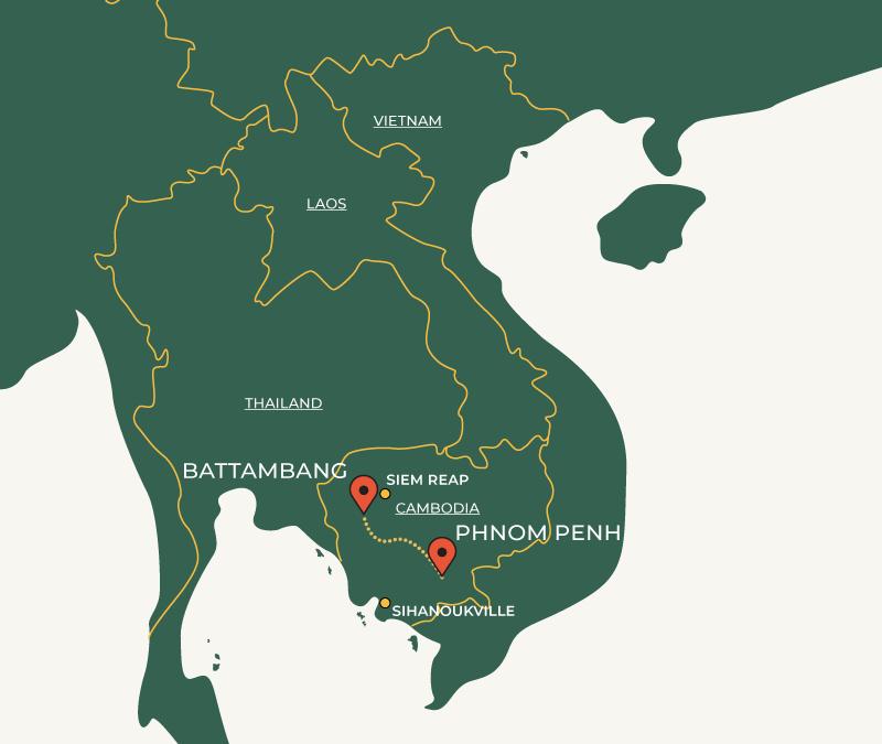 Phnom Penh to Battambang route on map