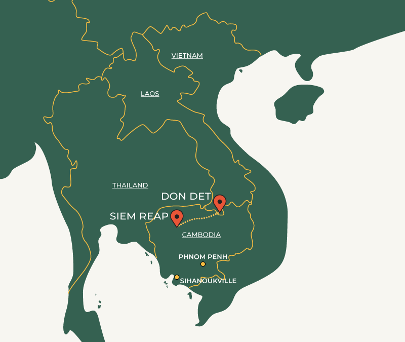 Siem Reap to Don Det travelroute on map