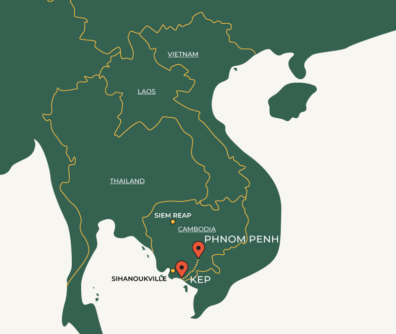 Kep to Phnom Penh route on map