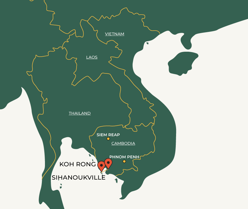 Koh Rong to Sihanoukville travelroute on map
