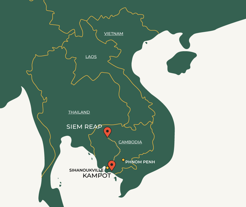 Siem Reap to Kampot route on map