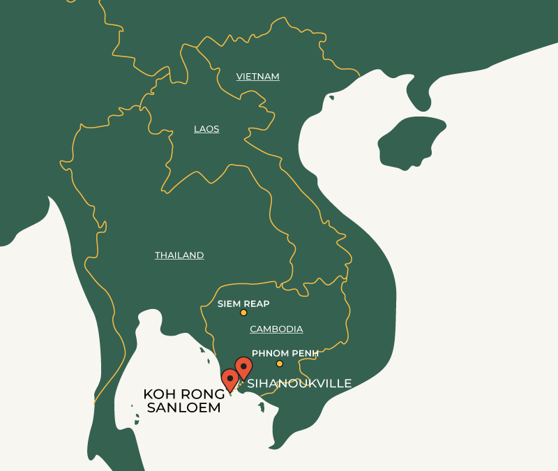 Sihanoukville to Koh Rong Sanloem travelroute on map