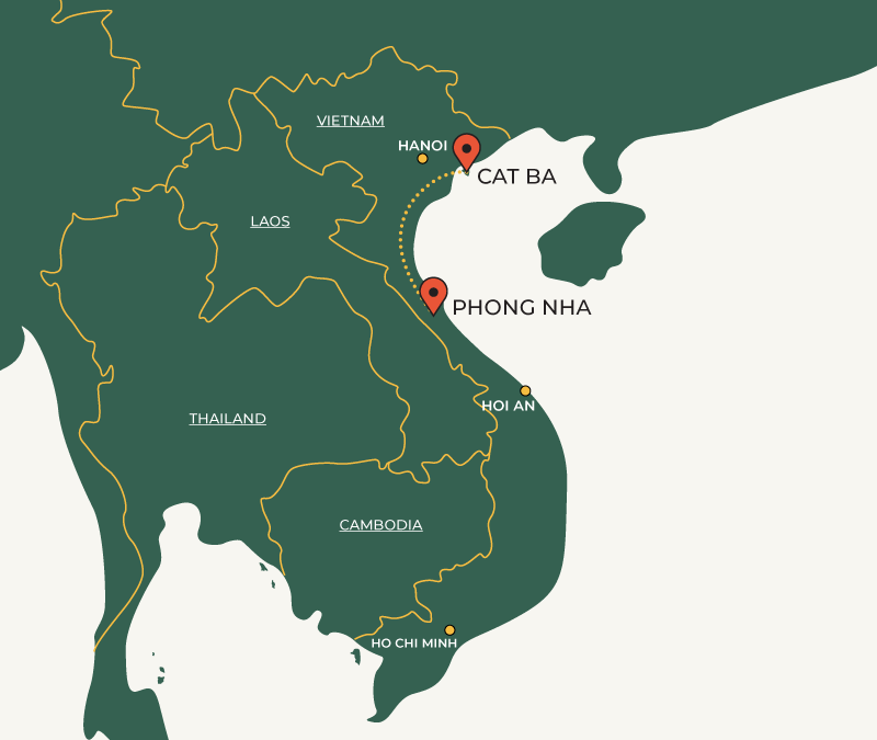 Cat Ba to Phong Nha travelroute map