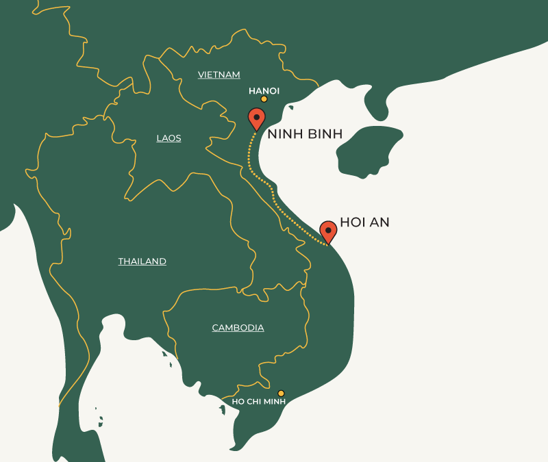 Ninh Binh to Hoi An travelroute map