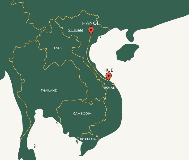Hue to Hanoi travelroute