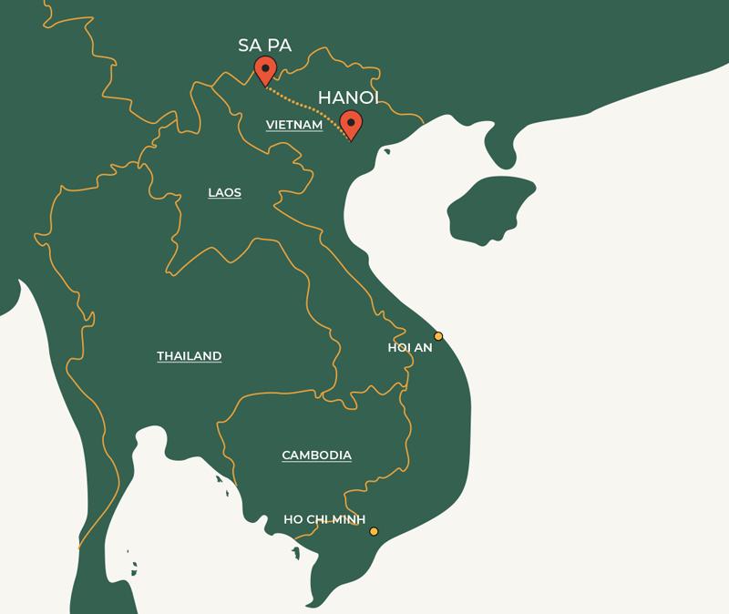 Hanoi to Sapa travelroute