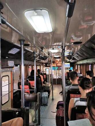 Airport shuttle bus from the inside