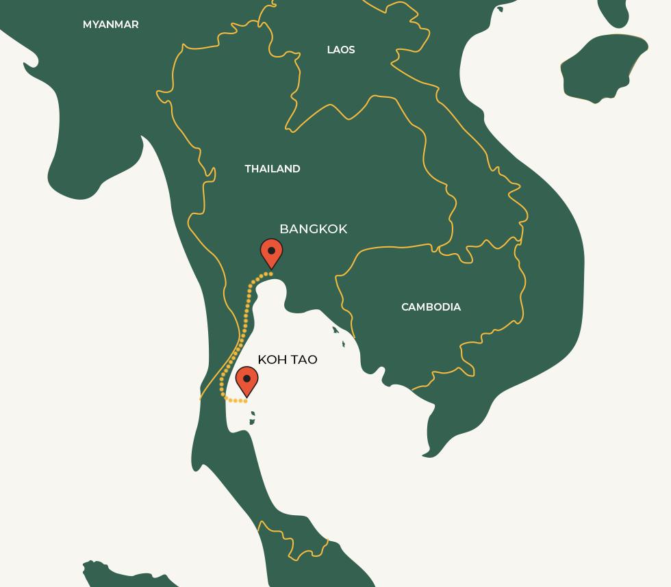 Bangkok - Koh Tao route