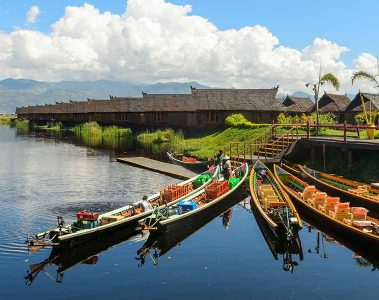 Boats in Inle Lake river