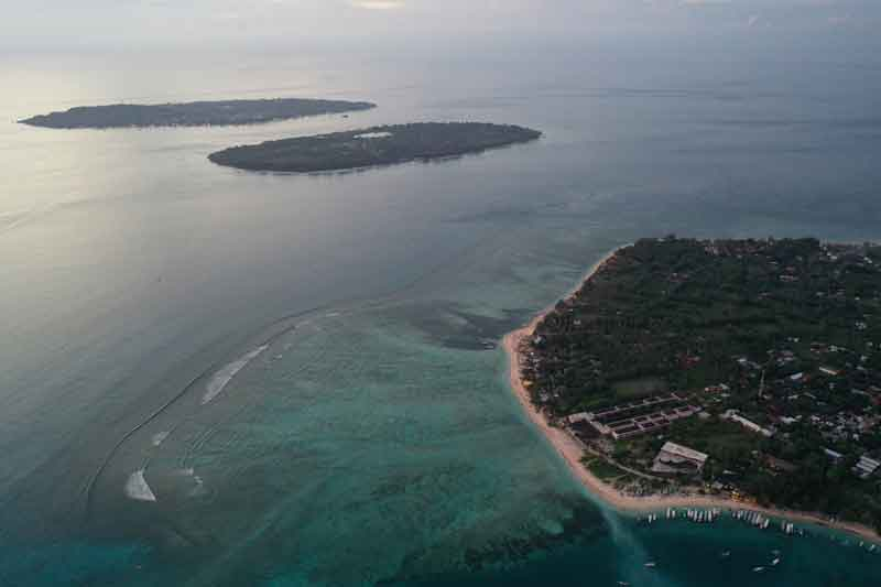 Gili Islands helicopter view