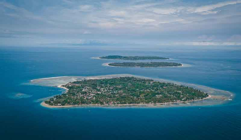 Aerial view on Gili Islands