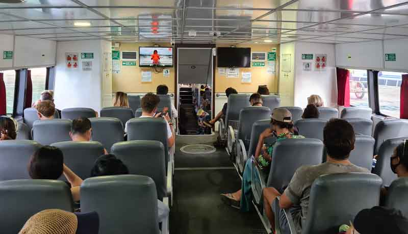 Inside of the ferry from Bali to Gili Islands