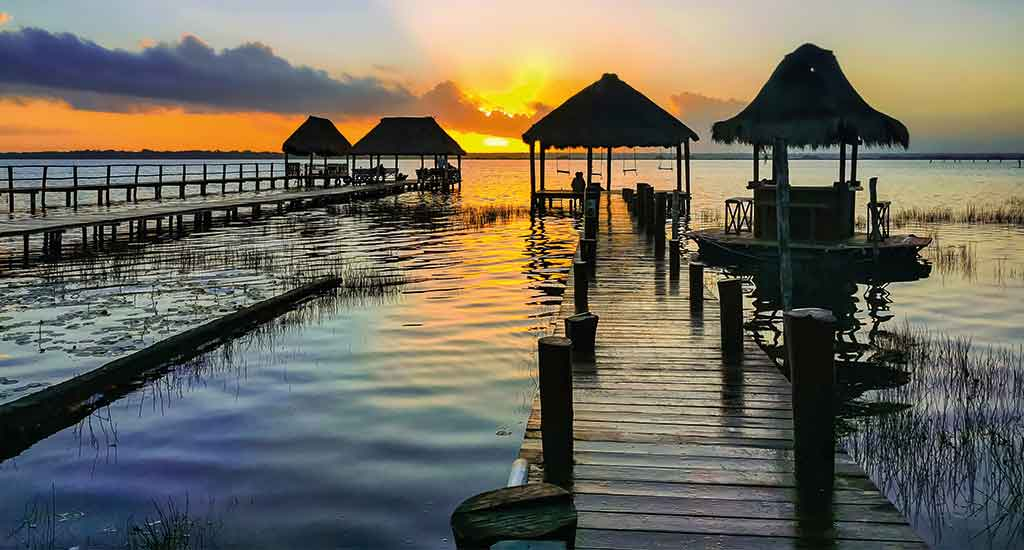 Sunrise in Lake Bacalar in Quintana Roo Mexico