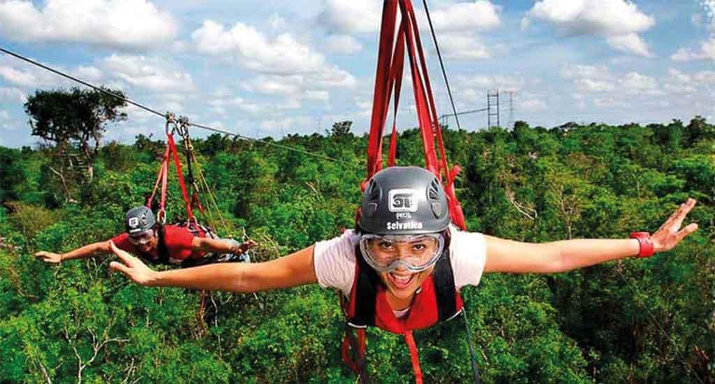Ziplining in Playa del Carmen Quintana Roo Mexico