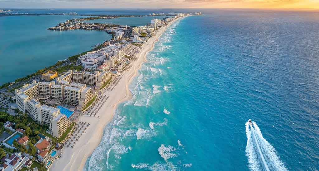 Arial view of Cancun Mexico