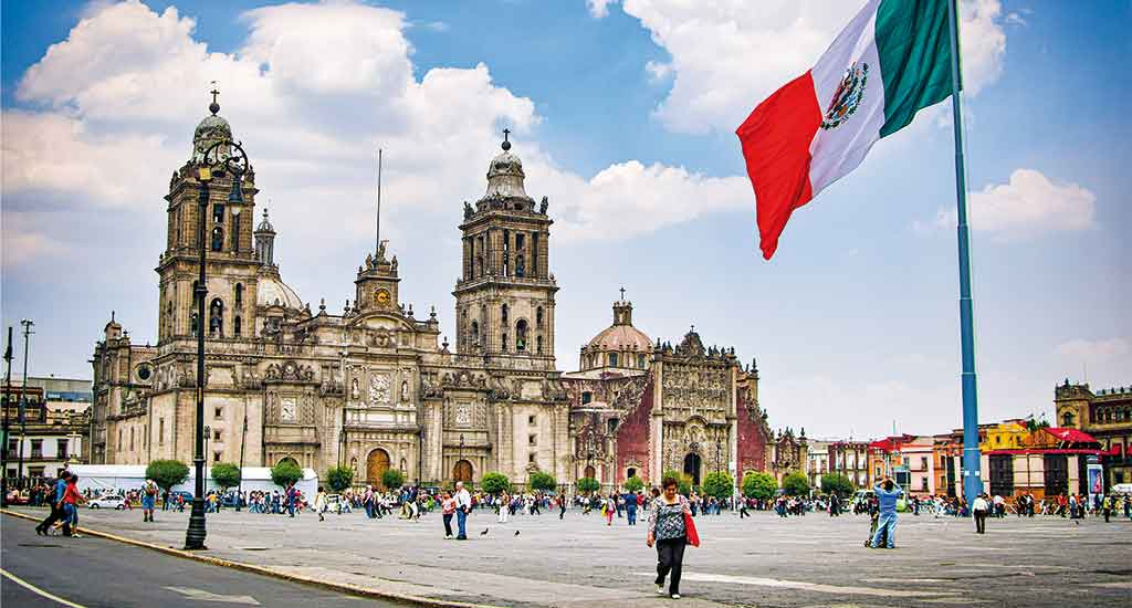 Zocalo and Cathedral in Mexico City Mexico