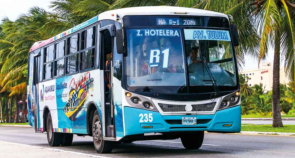 Bus in Cancun Mexico