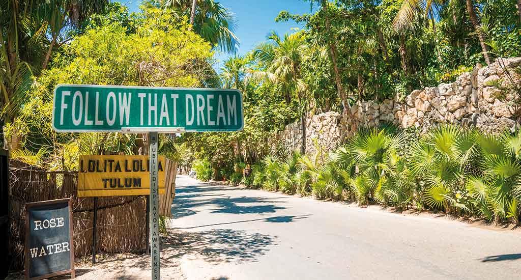 Street sign in Tulum Mexico