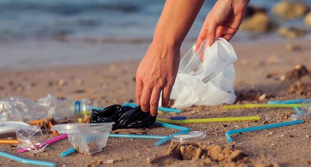 Collecting Trash at Beach