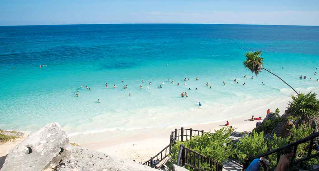 Overview of Playa Ruinas in Tulum Mexico
