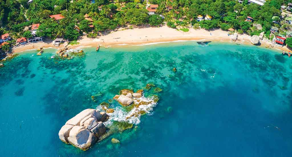 Aerial view of Tanote Bay on Koh Tao