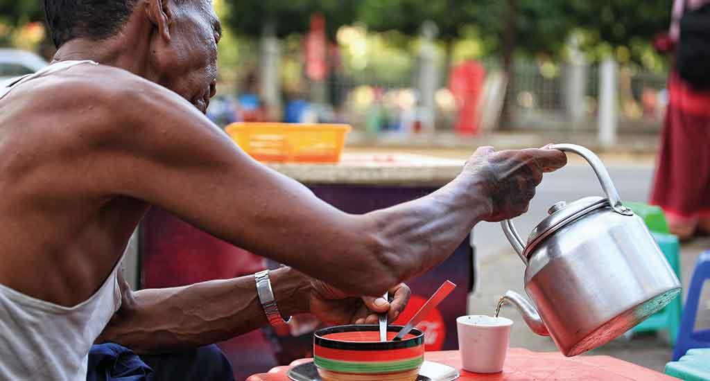Drinking tea at Mae Sot