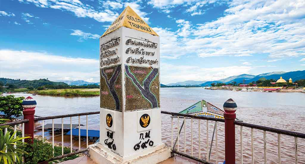 Golden Triangle sign at Mekong River, Chiang Rai Province