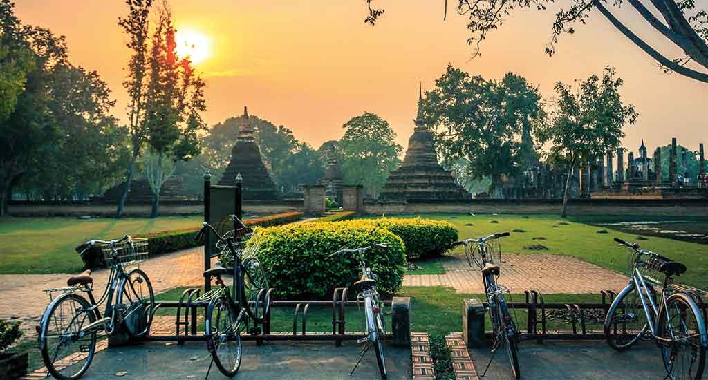 Parked bikes in Sukhothai